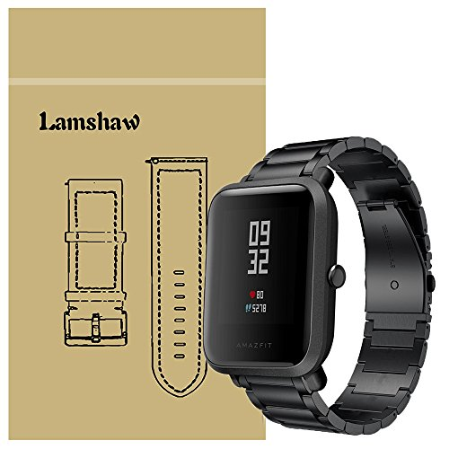 Price comparison product image For Xiaomi Amazfit Bip Band, Lamshaw Stainless Steel Metal Replacement Straps for Xiaomi Huami Amazfit Bip Younth Watch (Black)