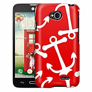 LG Ultimate 2 Case, Slim Fit Snap On Cover by Trek Anchors White on Red Case