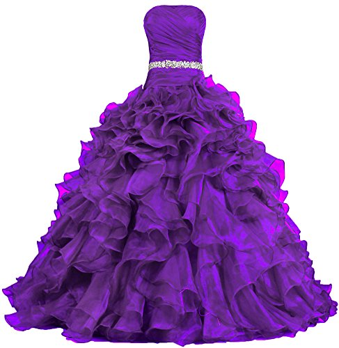 ANTS Women's Pretty Ball Gown Quinceanera Dress Ruffle Prom Dresses Size 20W US Purple