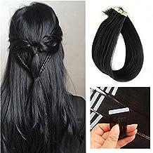 "SHOWJARLLY 16"" Remy Tape in Hair Extensions Human Hair 20Pcs/Set #1 Jet Black Seamless Tape in Skin Weft Human Hair Extensions 30g"