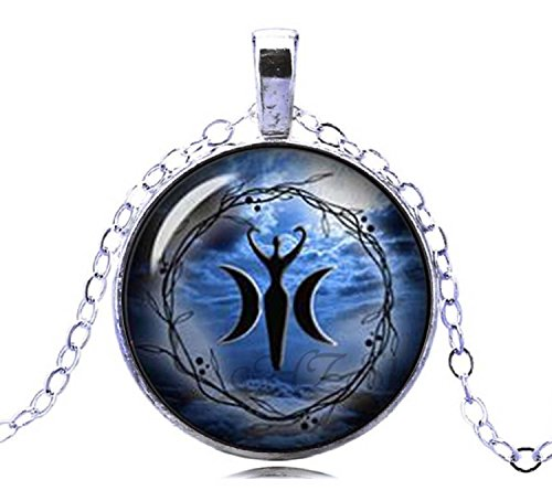 (Gemingo New Style Triple Moon Goddess Necklace Glass Dome Pendant Wiccan Jewelry For Women (Silver))
