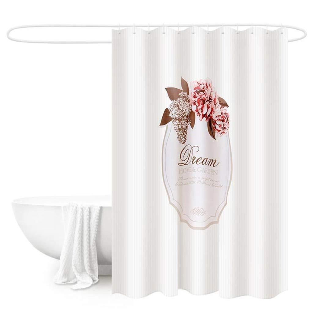 HTY Retro Bathroom Shower Curtain, Bathroom Curtain Partition Curtain Bathroom Curtain Hanging Curtain Waterproof Thickening Mold-Free Punching with Bath Rod (Size : 240cm200cm)