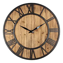 Timelike Large Decorative Rustic Wall Clock Vintage Bronze Metal and Solid Wood Oversized Wall Clock with Silence Non-ticking Movement (60CM)