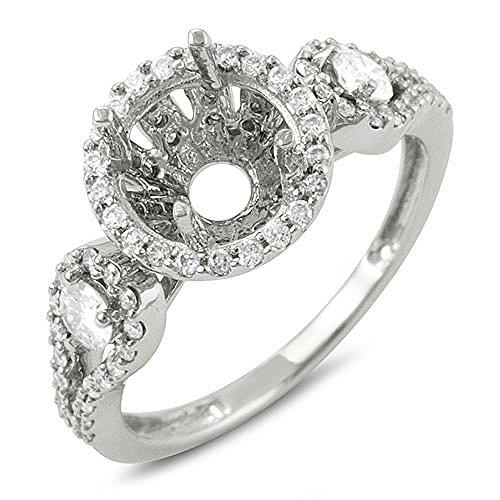 0.80 Carat (ctw) 18K White Gold Round Diamond Semi Mount