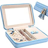 LE PAPILLION JEWELRY Jewelry Box Faux Leather Travel Jewelry Box Organizer | Elegant Outlook Display Storage Case with Large Mirror | Jewelry Box Gift for Women, Great Gift Idea(Blue)