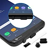 PortPlugs USB-C Anti Dust Plugs - (10 Pairs) Rounded Silicone Plugs - Port Cleaning Brush Included - Secure Fit for Samsung Galaxy s9 and More (Black)