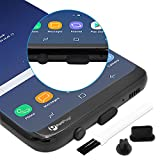 PortPlugs - USB C Dust Plugs [10 Pairs], Compatible with Samsung s10, s8, s9 Plus, Note 9, Pixel, Any Type C with Headset Jack Silicone (Black)