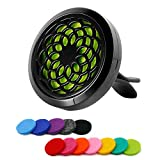 RoyAroma 30mm Car Aromatherapy Essential Oil Diffuser Stainless Steel Locket Air Freshener with Vent Clip 12 Felt Pads-Sunflower Black