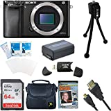 Sony Alpha a6000 ILCE6000/B 24.3 Interchangeable Lens Camera - Body only BUNDLE with 64GB Card Spare Battery Deluxe Case HDMI Cable DVD SLR Guide and MORE (Camera Body Starter Kit)