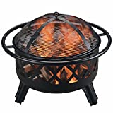 Peaktop CU296 Outdoor 30-Inch Round Steel Wood Burning Fire Pit for Garden and Yard