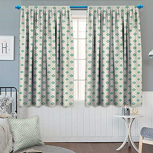 Chaneyhouse Turquoise Thermal Insulating Blackout Curtain Retro Cross Pattern Abstract Geometric Plus Figure Oval Frame Design Vintage Patterned Drape for Glass Door 55