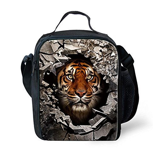 Showcool 3D Printed Tiger Zipper Lunch Bag Polyester Mini Cooler Meal Bag Cool Insulated Lunch Box for Boys Girls Kids Children Detroit Tigers Lunch Bag