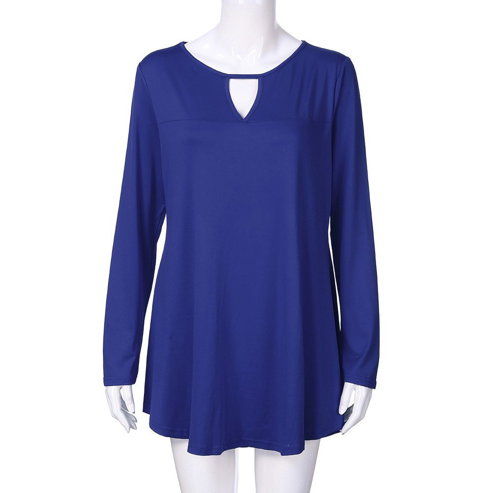 JiaMeng Blusa Holgada Irregular Camiseta Suelta Tops Casual Mangas Largas para Mujer Suelta Casual SšLido O Cuello Hollow out Blusa Larga Tops Camisas: ...