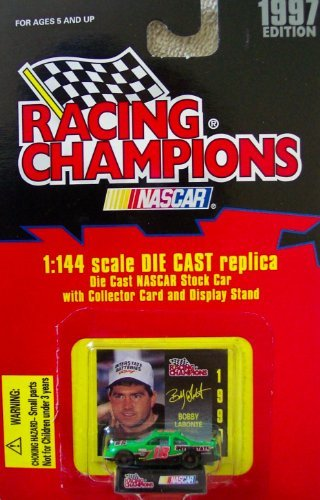 1997 Edition Racing Champions Bobby Labonte #18 Interstate Batteries 1:144 Scale Replica Die Cast Replica w/Collector Card and Display Stand by Racing Champions