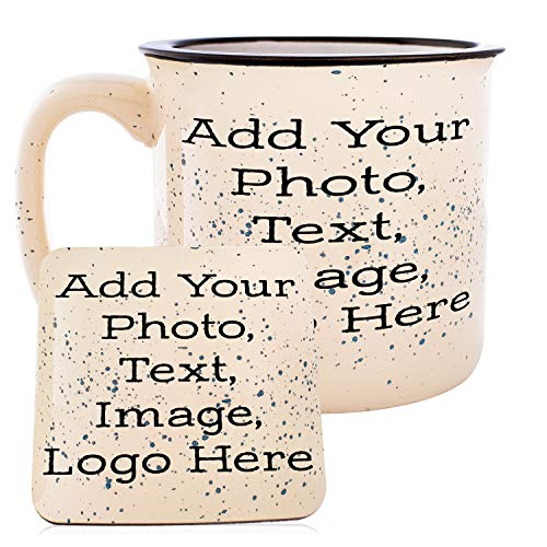 Customizable Coffee Mug with Your Custom Photo and Text - Personalized 16oz Camp Mug - Create Your Own Design with Picture