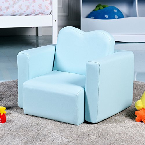 Costzon Kids Sofa, 2-in-1 Multi-Functional Kids Table & Chair Set, Sturdy Wood Construction, Armrest Chair for Boys & Girls (Blue) by Costzon (Image #4)