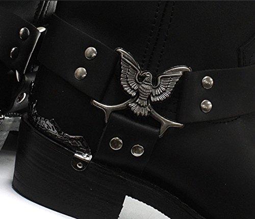 Grinders Zapatos para hombre de cuero real de vaquero con estilo - Eagle Hi Negro
