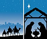 WOWindow Posters Manager & Magi Combo Silhouette Christmas Jesus Window Decoration includes two 34.5''x60'' Backlit Posters