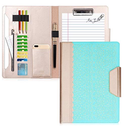 WWW Portfolio Case/Portfolio Folder, Interview/Legal Document Organizer with Business Card Holders, Letter-Sized Clipboard and Document Sleeve for Office and Interview Mint Green ()