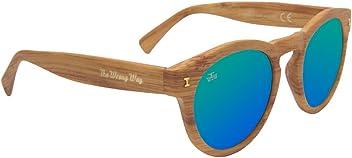 c6b083ae30 Gafas de sol redondas efecto madera The Wrong Way. Lentes de espejo  verdodas Cat.