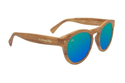 Gafas de sol redondas efecto madera The Wrong Way. Lentes de espejo verdodas Cat. 3 UV400. Montura r...