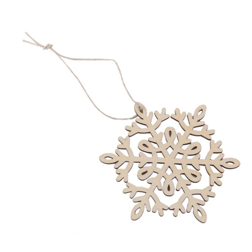 OULII Navidad colgantes adornos adornos madera 8 x 8cm hex/ágono copo de nieve paquete de 10