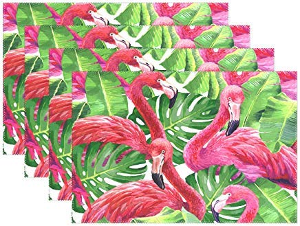 Promini Colorful Pink Flamingo Placemats for Dining Table Heat Resistant Kitchen Table Decor Washable Table Mats Set of 6