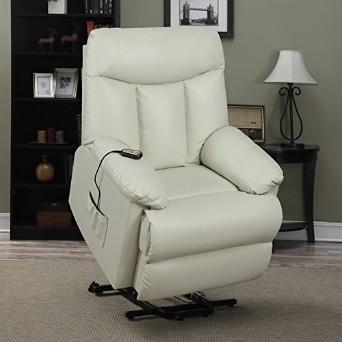 ProLounger Lya Cream Renu Leather Power Recline and Lift Wall Hugger Chair