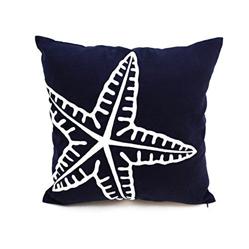starfish throw pillow case navy