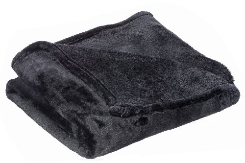 Simple Deluxe Sofantex Luxury Reversible Plush Throw Blanket, 60 by 80-Inch, Black
