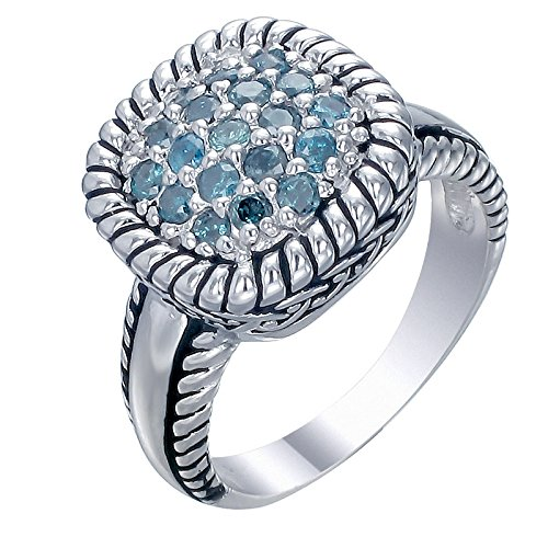 0.50 CT Blue Diamond Ring .925 Sterling Silver Size 8