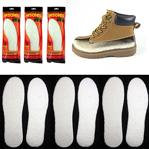 3 Pairs Unisex Winter Warm Thick Fleece Fluffy Shoe Insoles Foam Pads Cut Insert from Unknown