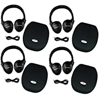 Four Pack Wireless 2 Channel Fold Flat Infrared Rear Entertainment System DVD Player IR Headphones For In Car Listening With Case and 3.5mm Auxiliary Cord