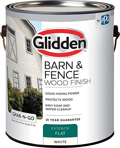 Latex Paint, Barn and Fence, 4098F/01, Flat, Exterior, 1 gal, White