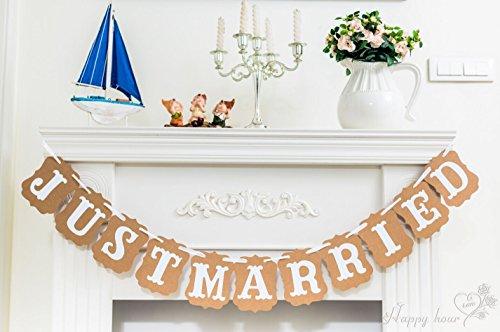JUST MARRIED Vintage Wedding Gardland Decoration Banner (Cars Banner Sign)