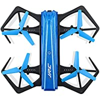JJR/C H43WH Mini Foldable Selfie Drone with 720P HD Camera Headless Mode G-sensor Mode Altitude Hold 2.4GHz 4CH 6-Axis Gyro RC Quadcopter Blue Color