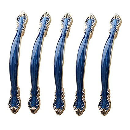 IdealDecor 5pcs European Style Cabinet Drawer Dresser Pulls/Knobs/Handles with Amber Blue for Furniture Hardware,Cupboards,Armoire,Wardrobe,Bathroom Cabinet Door (Hole Distance 2.5 inch)