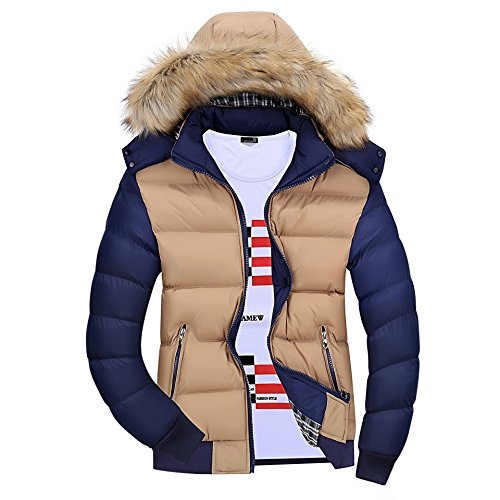 Winter Hooded Jacket Detachable Padded Casual Jacket Coat Outwear Thick Warm Men's Lsm Khaki Blue zEnX61qx