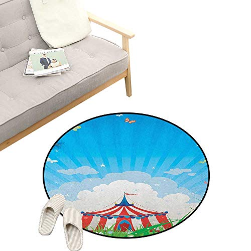Circus Non-Slip Round Rug ,Travelling Circus Tent with Clouds Butterflies and Clear Sky Festival Happiness, Washable Living Room Bedroom Kids 39