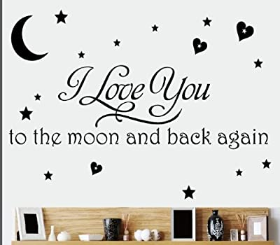 """I Love You To The Moon and Back Again""Romantic Love Quotes and Sayings Removable Wall Stickers Home Decor Decals For Living Room Bedroom"