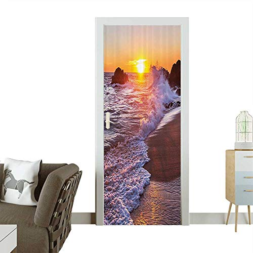 - Homesonne 3D Photo Door Murals Sea Waves Hits to Rocks The Sandy ACH and Bubbles Sun Easy to Clean and applyW31 x H79 INCH