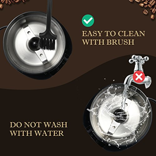 Homitt Electric Coffee Grinder, One-Touch Coffee Bean Grinder with Upgrade Noiseless Motor and 301 Stainless Steel Blades for Evenly and Versatile Grinding-Support Home and Office Portable Use by Homitt (Image #6)