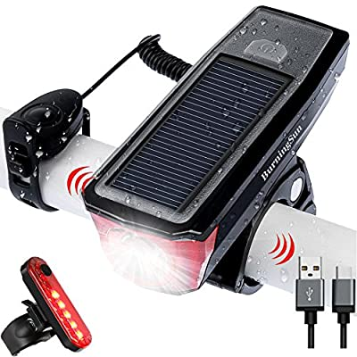 BURNINGSUN Bike Light Set and Horn Solar Powered USB Rechargeable Front and Rear Bicycle Light 350 Lumens 4 Mode Headlight and Bell Back Tail Light Taillight LED Speaker Road Cycling Safety Flashlight
