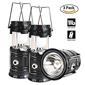 51gcrRjciZL. SS300  - Solar Lantern Flashlight, 3 Packs Rechargeable Camping Lanterns Led Collapsible, Bright Lights for Emergency, Hurricane, Power Outage(Black)