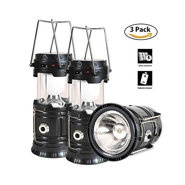 51gcrRjciZL. SS600  - Solar Lantern Flashlight, 3 Packs Rechargeable Camping Lanterns Led Collapsible, Bright Lights for Emergency, Hurricane, Power Outage(Black)
