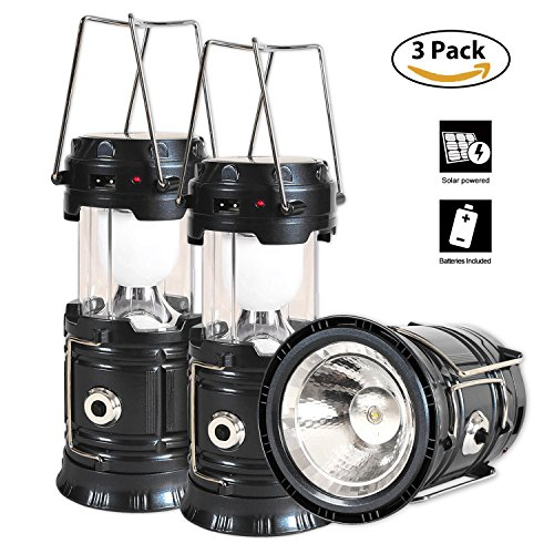 51gcrRjciZL - Solar Lantern Flashlight, 3 Packs Rechargeable Camping Lanterns Led Collapsible, Bright Lights for Emergency, Hurricane, Power Outage(Black)