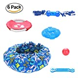 Shepher 6 Pack Dog Toys Gift Set - Dog Bed Rubber Ball Bone Flying Disc Rope Squeak Chew Toys for Small Medium Pets Chewing Playing Training
