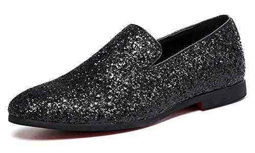 Santimon Hommes Mocassins Métallisé Texturé Slip-on Glitter Mode Pantoufle Mocassins Casual Robe Chaussures Noir Or Argent Noir