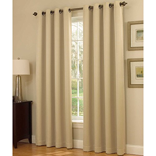Gorgeous Home 34 1 PANEL SOLID BEIGE GOLDISH 108 EXTRA LONG 100 BLACKOUT TEXTURE HEAVY THICK THERMAL FOAM LINED WINDOW CURTAIN DRAPE SILVER GROMMETS