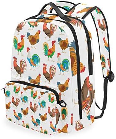 オンドリのカラフルな鶏ショルダー バックパック メッセンジャー クロスボディ ラップトップ バッグ 学生 スクールバッグ ブックバッグ 女の子 男の子 用